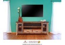 76in TV Stand w/2 drawers and 2 iron mesh doors