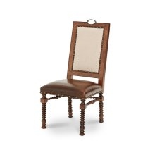 Fabric Back Side Chair w/Leather Seat