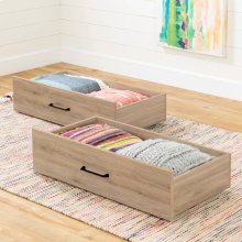 Set of 2 Storage Drawers on Wheels - Rustic Oak