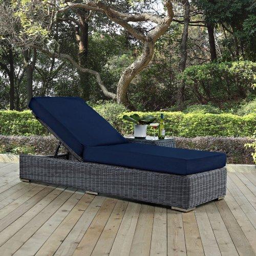 Summon Outdoor Patio Sunbrella® Chaise Lounge in Canvas Navy