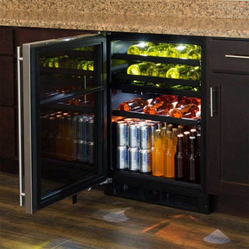 """Marvel 24"""" Dual Zone Wine and Beverage Center - Panel-Ready Solid Overlay Door - Integrated Left Hinge"""