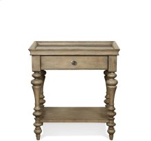 Corinne Marble Top Leg Nightstand Sun-drenched Acacia finish