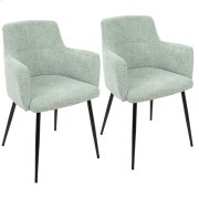 Andrew Chair - Set Of 2 - Black Metal, Light Green Fabric Product Image