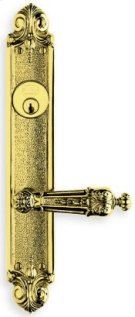 Ornate Narrow Backset Lever Lockset - Solid Brass in SB (Shaded Bronze, Lacquered) Product Image