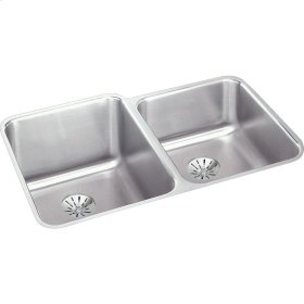 "Elkay Lustertone Classic Stainless Steel, 31-1/4"" x 20-1/2"" x 4-7/8"", Double Bowl Undermount ADA Sink w/Perfect Drain"