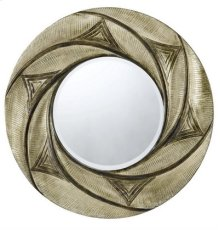 PONZA ROUND PU FRAME MIRROR WITH BEVELED GLASS