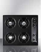 "24"" Wide Cooktop In Black, With Four Burners and Battery Start Ignition Product Image"