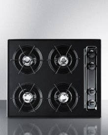 """24"""" Wide Cooktop In Black, With Four Burners and Battery Start Ignition"""