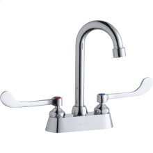 """Elkay 4"""" Centerset with Exposed Deck Faucet with 4"""" Gooseneck Spout 6"""" Wristblade Handles Chrome"""