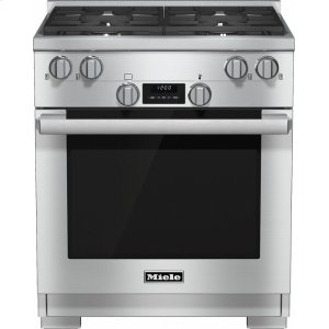 MieleHR 1724 G 30 inch range Dual Fuel model with DirectSelect controls.