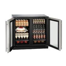 "Modular 3000 Series 36"" Glass Door Refrigerator With Stainless Frame Finish and Double Doors Door Swing (115 Volts / 60 Hz)"