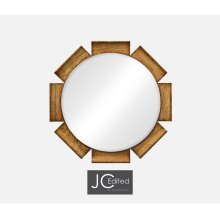 Round Porthole Light Brown Chestnut Mirror