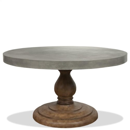 Sherborne - Concrete Top Round Dining Table Pedestal - Natural Concrete Finish