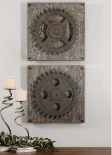 Rustic Gears Wood Wall Squares, S/2