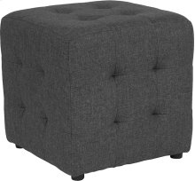 Avendale Tufted Upholstered Ottoman Pouf in Dark Gray Fabric