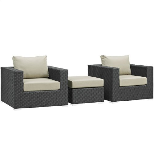 Sojourn 3 Piece Outdoor Patio Sunbrella® Sectional Set in Canvas Antique Beige