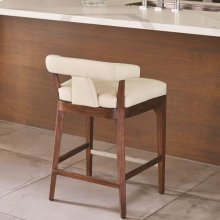 Moderno Bar Stool-Ivory Marble Leather