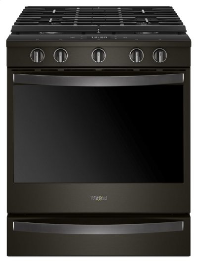 Whirlpool® 5.8 Cu. Ft. Smart Slide-in Gas Range with EZ-2-Lift™ Hinged Cast-iron Grates - Black Stainless Product Image
