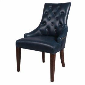 Celestia Bonded Leather Tufted Chair Drift Wood Legs, Vintage Blue
