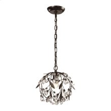Circeo 1-Light Mini Pendant in Deep Rust with Crystal and Off-white Shade