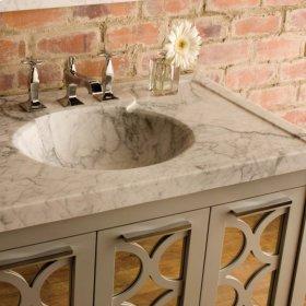Vintage Washbasin, 36 Inch Honed Carrara Marble / 3pc Splash Set
