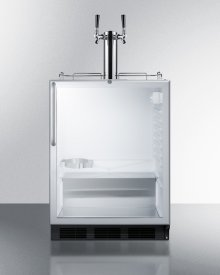 Built-in Undercounter ADA Height Commercially Listed Dual Tap Beer Dispenser With Glass Door, Lock, and Stainless Steel Wrapped Cabinet