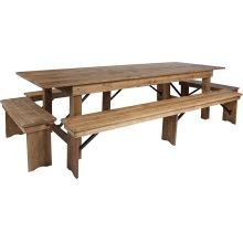 9' x 40'' Antique Rustic Folding Farm Table and Four Bench Set