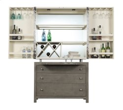 Complete Bar Cabinet-wood Base-driftwood Finish W/top-white Finish Set Up Product Image