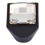 Crystal Large Square Knob 1 Inch - Matte Black