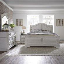 King Sleigh Bed, Dresser & Mirror, NS