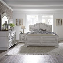 King Sleigh Bed, Dresser & Mirror, NS