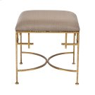 Hammered Gold Leaf Stool W. Beige Linen Upholstered Top. Product Image