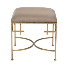 Hammered Gold Leaf Stool W. Beige Linen Upholstered Top.