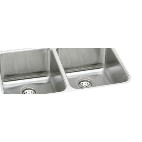 """Elkay Lustertone Classic Stainless Steel 35-3/4"""" x 18-1/2"""" x 10"""", Equal Double Bowl Undermount Sink Kit"""