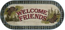 """Cozy Cabin Welcome Friends Pine Cone Blue 20""""x44"""" Oval"""