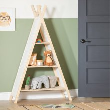 Scandinavian Teepee Shelving Unit for kids - Natural Cotton and Pine
