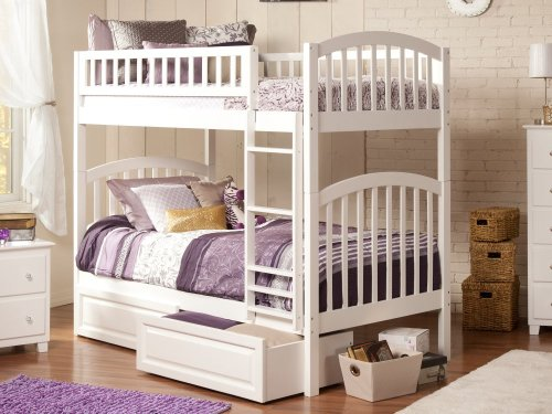 Richland Bunk Bed Twin over Twin with Raised Panel Bed Drawers in White