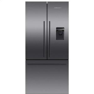 Fisher & PaykelBlack Stainless Steel French Door Refrigerator, 17 cu ft, Ice & Water