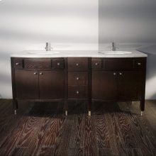"Stone countertop for vanity 3502 with two cut-outs for lavatory 33LA. Specify: (0) no faucet holes; (1) one faucet hole; (3) 3 faucet holes in 8"" spread."