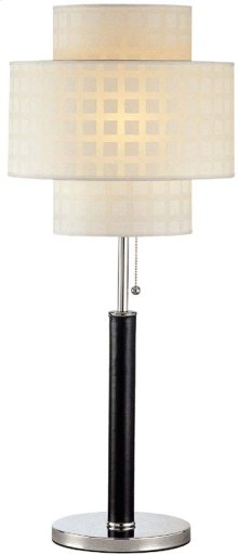 Table Lamp, C/leather Pole W/grid Pattern Shade, E27 Cfl 23w