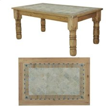 "72"" x 39"" x 30"" Wooden Dining Table with Stone Insert"