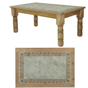"""60"""" x 39"""" x 30"""" Wooden Dining Table with Stone Insert"""