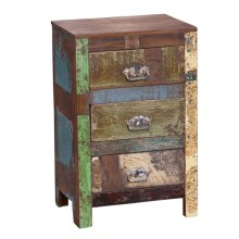 Reclaimed Wood Small 3 Drawer End Table