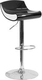 Contemporary Black and White Adjustable Height Plastic Barstool with Chrome Base Product Image