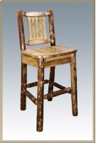 Glacier Country Log Barstool with Back Product Image
