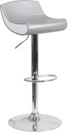 Contemporary Silver and White Adjustable Height Plastic Barstool with Chrome Base Product Image