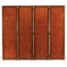 Red Chinoiserie Four Panel Screen Product Image