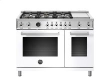 48 inch 6-Burner + Griddle, Electric Self-Clean Double Oven White