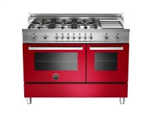 48 6-Burner + Griddle, Gas Double Oven Red
