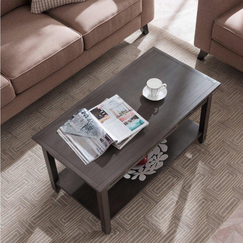 Smoke Grey Oak And Black Slate Coffee Table 10058 Gr